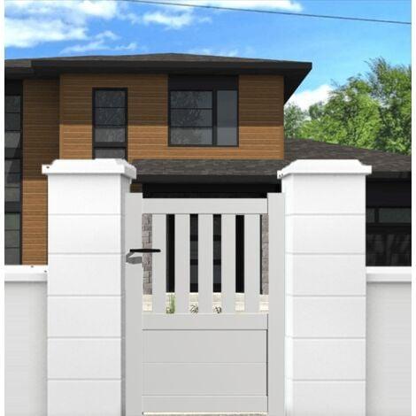 Portillon aluminium modèle semi-ajouré en kit dimension L.1000 (entre piliers) x H.1300 mm couleurs Blanc (RAL 9010)