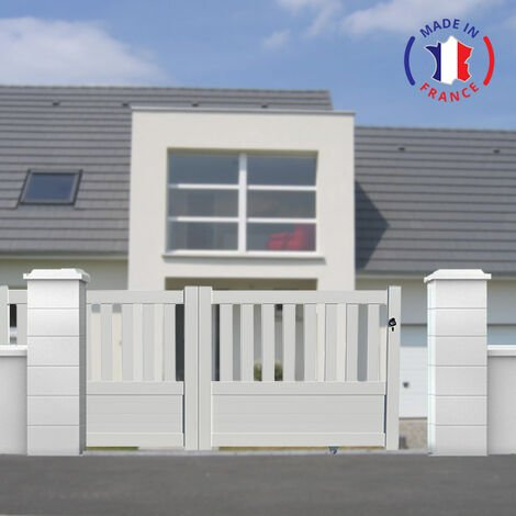 Portail aluminium coulissant semi-ajouré en kit dimension L.3000 (entre piliers) X H.1300 mm couleurs Blanc (RAL 9010)