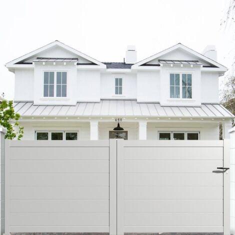 Portail aluminium coulissant plein en kit dimension L.3000 (entre piliers) X H.1500 mm couleurs Blanc (RAL 9010)
