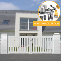 Portail aluminium battant ajouré en kit + Motorisation dimension L.3000 (entre piliers) X H.1200 mm couleurs Blanc (RAL 9010)