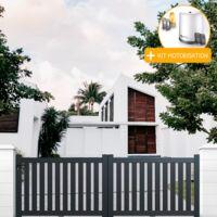 Portail aluminium coulissant ajouré en kit+ Motorisation dimension L.3000 (entre piliers) X H.1200 mm couleurs Gris (RAL 7016)