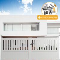 Portail aluminium battant semi-ajouré en kit + Motorisation dimension L.3000 (entre piliers) X H.1300 mm couleurs Blanc (RAL 9010)