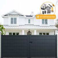 Portail aluminium battant plein en kit + Motorisation dimension L.3000 (entre piliers) X H.1500 mm couleurs Gris (RAL 7016)