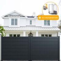 Portail aluminium coulissant plein en kit + Motorisation dimension L.3000 (entre piliers) X H.1500 mm couleurs Gris (RAL 7016)