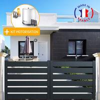 Portail aluminium coulissant SAH en kit + Motorisation dimension L.3000 (entre piliers) X H.1500 mm couleurs Gris (RAL 7016)