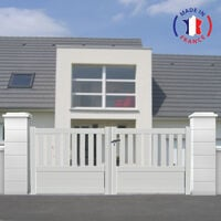 Portail aluminium battant semi-ajouré en kit dimension L.3000 (entre piliers) X H.1300 mm couleurs Blanc (RAL 9010)