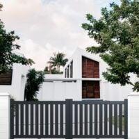 Portail aluminium coulissant ajouré en kit dimension L.3000 (entre piliers) X H.1200 mm couleurs Gris (RAL 7016)
