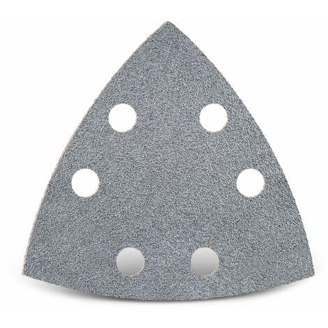 50 feuilles abrasives auto-agrippantes MENZER p. ponceuses delta, 93 mm / 6 trous / G400 / Corindon semi-précieux avec stéarate