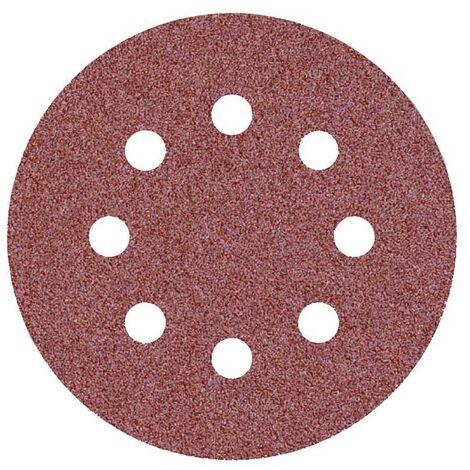 50 disques abrasifs auto-agrippants p. ponceuses excentriques, Ø 125 mm / 8 trous / G80 / Corindon normal