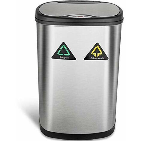 Amagabeli Poubelle à Capteur Automatique - 13Gallon / 50L Poubelle de Cuisine Recycler en Acier Inoxydable - Poubelle à Capteur de Mouvement Infrarouge Automatique pour Les Bureaux à Domicile