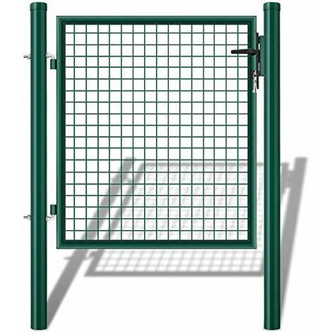 Amagabeli Portail de Jardin en métal galvanisé avec Serrure (Single) Porte de clôture Vert RAL6005 140x100cm