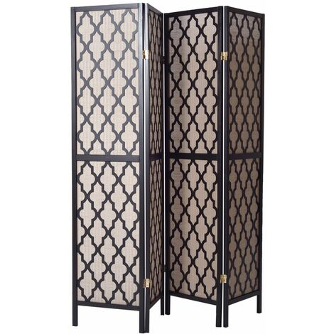 Biombo Oriental madera negro y Fibras Naturales - 4 paneles - Dim : A178,6cm