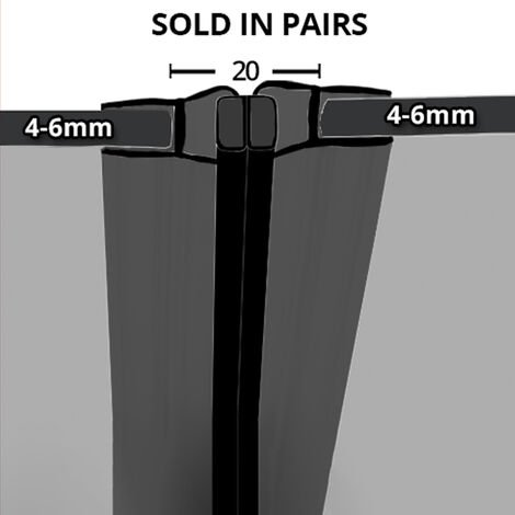 Black Magnetic Shower Seal for Screens or Doors   Fits 4, 5 or 6mm Glass   Sold as Pairs   MAG010B (200cm)