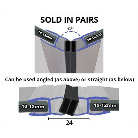 Magnetic Shower Seal for Screens or Doors | Fits 10, 11 or 12mm Glass | Sold as Pairs | MAG015 (200cm)