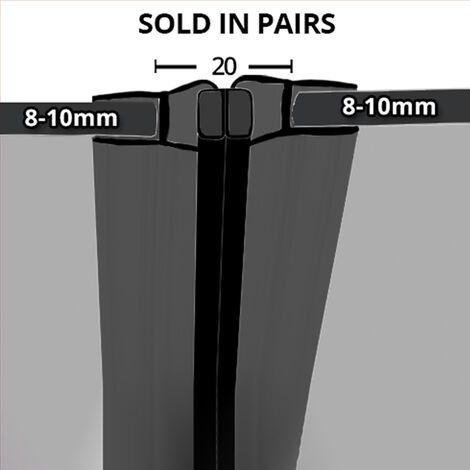 Black Magnetic Shower Seal for Screens or Doors | Fits 8, 9 or 10mm Glass | Sold as Pairs | MAG011B (200cm)