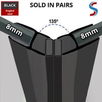 Black Magnetic Shower Seal for Screens or Doors | Fits 8mm Glass | Sold as Pairs | MAG002B (200cm)