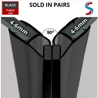 Black Magnetic Shower Seal for Screens or Doors   Fits 4, 5 or 6mm Glass   Sold as Pairs   MAG004B (200cm)