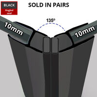 Black Magnetic Shower Seal for Screens or Doors | Fits 10mm Glass | Sold as Pairs | MAG003B (200cm)