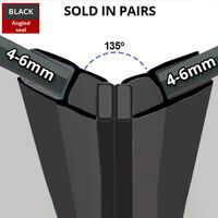 Black Magnetic Shower Seal for Screens or Doors | Fits 4, 5 or 6mm Glass | Sold as Pairs | MAG001B (200cm)