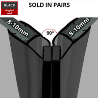 Black Magnetic Shower Seal for Screens or Doors | Fits 8, 9 or 10mm Glass | Sold as Pairs | MAG012B (200cm)