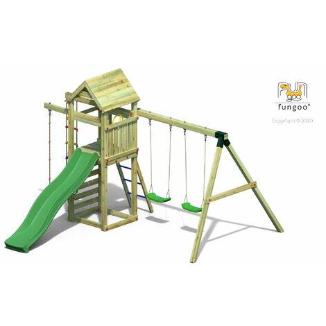 FUNGOO Aire de jeux GAIA avec large plate-forme, toiture, corde à nœuds et échelle de corde, échelle, toboggan ver et balançoire 2 sièges - Kit sécurité ancrage au sol fournis