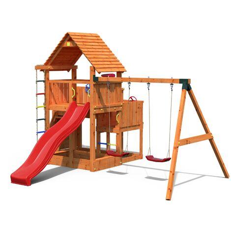 FUNGOO Aire de jeux BIG LEADER MOVE avec triple plateforme à plusieur niveaux, échelle de corde, toiture, mur d'escalade, toboggan rouge & accessoires de jeux, balançoire 2 sièges - Kit sécurité ancrage au sol fournis