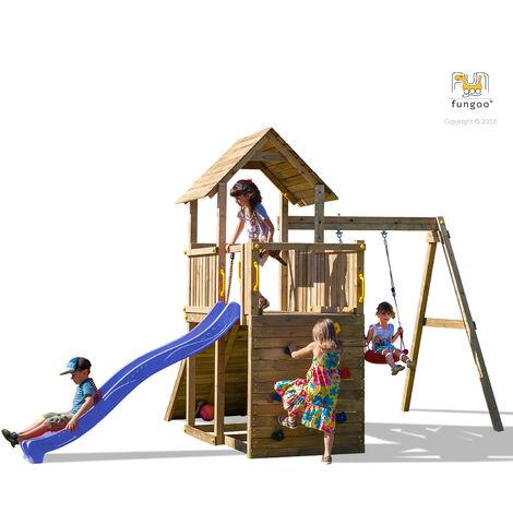 FUNGOO Aire de jeux CAROL 3 avec plateforme double, rampe d'accés avec corde, toboggan bleu, mur d'escalade, toiture et balançoire simple - Kit sécurité ancrage au sol fournis