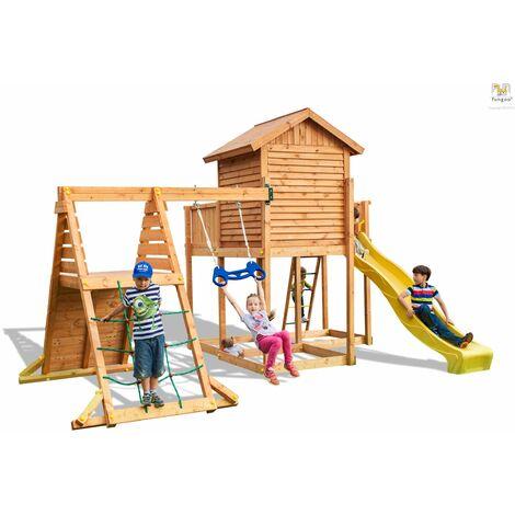 FUNGOO Aire de jeux MySIDE SPIDER+ avec triple plateforme, cabane, échelle, murs d'escalade, mur de corde, toboggan jaune & accessoires de jeux, bvalaçoire trapèze - Kit sécurité ancrage au sol fournis