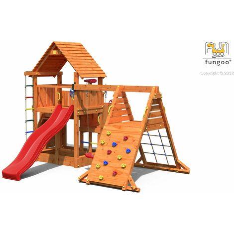 FUNGOO Aire de jeux BIG LEADER SPIDER avec triple plateforme à plusieur niveaux, échelle de corde, toiture, 2 murs d'escalade, mur de corde, toboggan rouge & accessoires de jeux, balançoire 1 siège - Kit sécurité ancrage au sol fournis