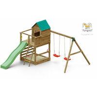 FUNGOO Aire de jeux JARCAS avec large plateforme, cabane, échelle, bac à sable, toboggan vert & accessoires de jeux et balançoire 2 sièges - Kit sécurité ancrage au sol fournis