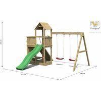 FUNGOO Aire de jeux FLOPPI avec double plateforme, rampe d'accés avec corde, mur d'escalade, toiture, bac à sable, toboggan vert & accessoires de jeux et balançoire 2 sièges - Kit sécurité ancrage au sol fournis
