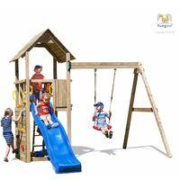FUNGOO Aire de jeux CAROL 2 avec échelle, toboggan bleu, mur d'escalade, toiture et balançoire simple - Kit sécurité ancrage au sol fournis
