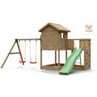 FUNGOO GALAXY L avec double plateforme, échelle, mur d'escalade, toboggan vert & accessoires, avec balançoire 2 sièges - Kit sécurité ancrage au sol fournis
