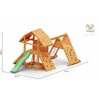 FUNGOO BUFFALO SPIDER ultra robuste et imposante, bac à sable, rampe d'accés avec corde, 2 murs d'escalade, mur de corde, toboggan vert & accessoires de jeux, balançoire 1 siège - Kit sécurité ancrage au sol fournis