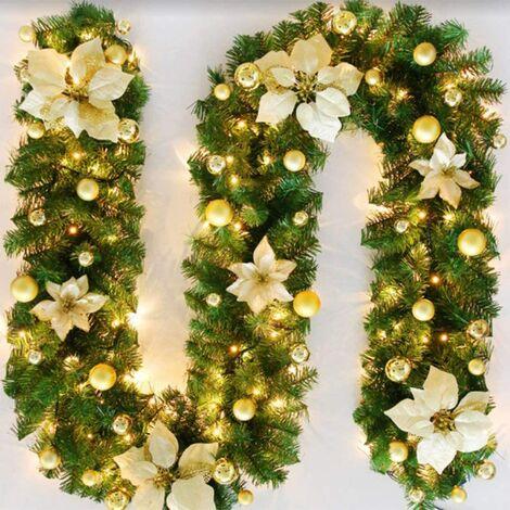 Perle rare Guirlande d'arbre de Noël 270 cm, guirlande d'arbre artificiel de Noël décorée de lumières LED pour cheminée d'escalier de porte d'arbre de Noël (jaune)(