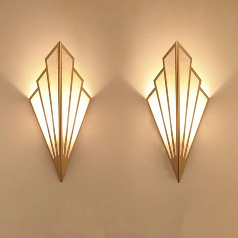 Perle rare Applique murale à LED couloir couloir lampe d'escalier de style européen chambre hôtel lampe de chevet lampe murale créative intérieure en forme d'éventail, or--