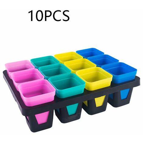 Perle rare Pot de fleur en plastique carré noir de semis, plateau d'insertion de pot de semis, outils de jardinage (10 couleurs aléatoires)