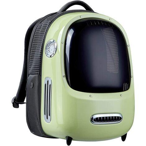 Perle rare Sac à dos de chat de sortie, boîte à air, sac à dos de cabine de transport, sac à dos Fournitures de chat de ventilation transparente, vert rétro