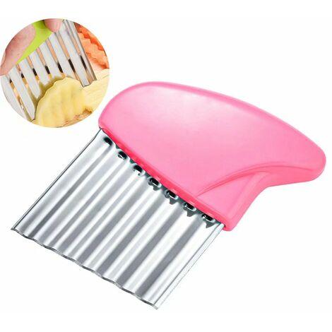 Perle rare Coupe de pommes de terre en acier inoxydable en forme de vague de frites de coupe Gadget de cuisine Coupe-légumes multifonction, rose