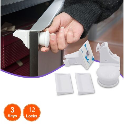 Perle rare Serrures magnétiques pour enfants Serrures de tiroir invisibles de sécurité multifonctionnelles pour enfants, serrures de sécurité à aimant pour bébé (12 serrures et 3 clés)