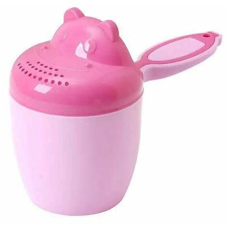 Perle rare Shampoing de douche pour enfants - Bébé Shampooing Rincer Tasse Cuillère Douche Tasse - Shampooing Tasse Enfants Produits, cheveux, bain, douche, tasse de rinçage Rug Jug(Rose