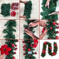 Perle rare Guirlande d'arbre de Noël 270 cm, guirlande d'arbre artificiel de Noël décorée de lumières LED pour cheminée d'escalier de porte d'arbre de Noël (bleu)(