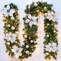 Perle rare Guirlande d'arbre de Noël 270 cm, guirlande d'arbre artificiel de Noël décorée de lumières LED pour cheminée d'escalier de porte d'arbre de Noël (argent)