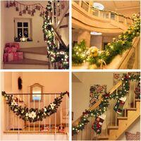 Perle rare Guirlande d'arbre de Noël 270 cm, guirlande d'arbre artificiel de Noël décorée de lumières LED pour cheminée d'escalier de porte d'arbre de Noël (bleu)