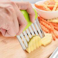 Perle rare Coupe de pommes de terre en acier inoxydable Coupe-légumes multifonction Frites ondulées Outil de cuisine de coupe (vert