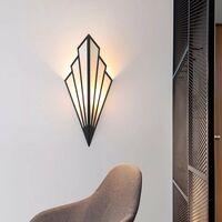 Perle rare Applique murale à LED couloir couloir lampe d'escalier de style européen chambre hôtel lampe de chevet lampe murale créative intérieure en forme d'éventail, noir