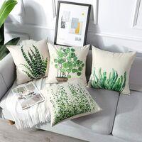 Housse de coussin d'extérieur, ensemble de 4 pièces de taie d'oreiller imperméable à motif de feuilles vertes, convient à la décoration de la chambre du salon du jardin de la cour, 44x44 cm