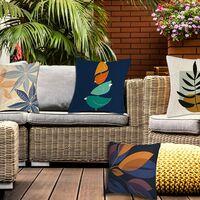 Taie d'oreiller, ensemble housse de coussin 1 pièce, taie d'oreiller décorative en lin, taie d'oreiller intérieure et extérieure imperméable, housse de coussin décorative de salon canapé canapé 45 x 45 cm (plantes)