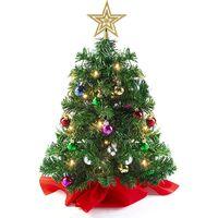 Arbre de Noël de table (base en bois/tissu) avec lumières LED, cime arbre étoilée et ornements