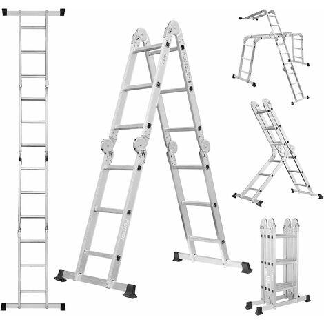 MVPOWER 3.5M Escalera Multipropósito, Escalera de Aluminio Multifuncional 5 en 1, Hasta 150KG, Norma Profesional EN 131, 12 Pasos, con 2 Placas de Andamio y 2 Travesaños de Piso
